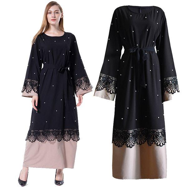 Black Abaya Lace Pearls Islam Muslim Long Dress Jilbab Caftan Qatar Kaftan Robe Dubai Abayas For Women Turkish Islamic Clothing