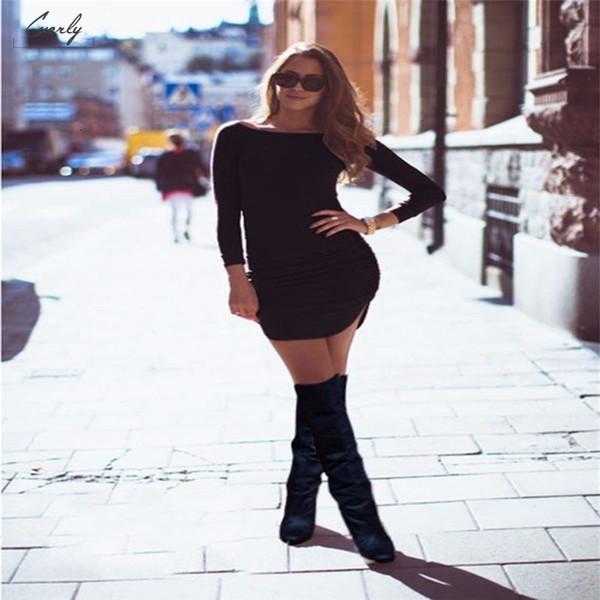 Bodycon женские платья лето весна Дизайнер одежды Casual с длинным рукавом Sexy Crew Neck Мини Тонкий Обычный размер пуловер Бленда хлопка