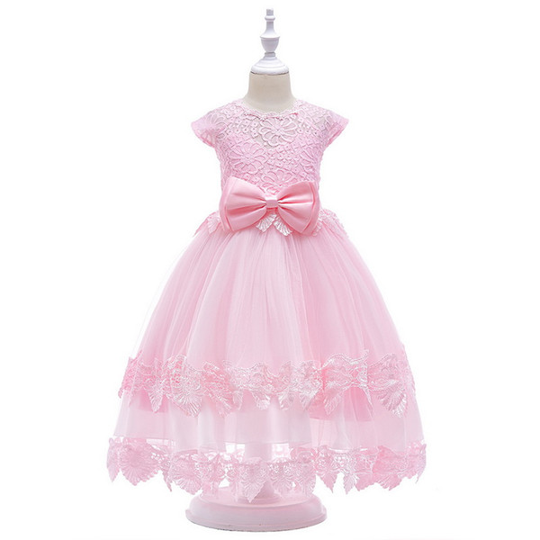 Half Open Back Lace Princess Long Dress TuTu Layered Skirt With Big Bow On The Waist