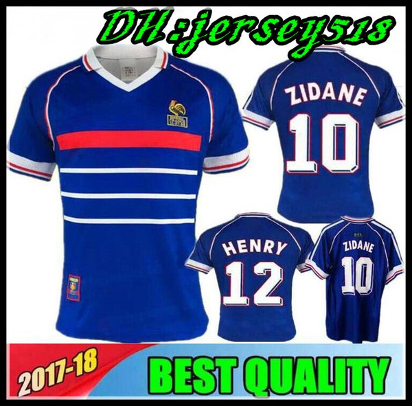 1998 FRANCE RETRO VINTAGE maillots de football ZIDANE HENRY MAILLOT DE FOOT Thaïlande uniformes de qualité maillots de football shirt