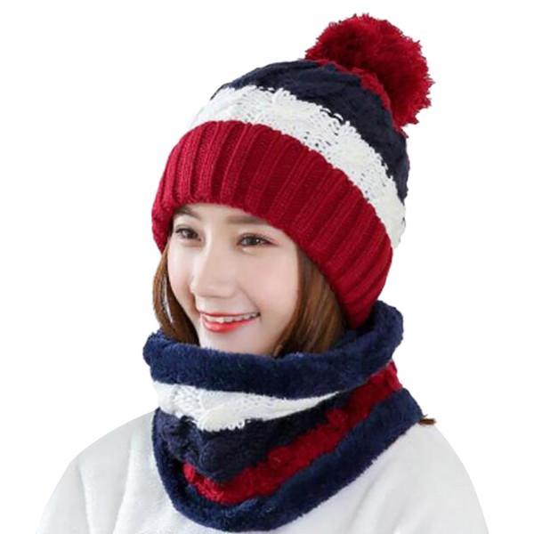 Nova Moda 2 pcs Womens Crochet Malha Gorro De Lã Com Máscara Gorro Quente Fleece Ski Cap Define Chapéu De Malha Mulheres Inverno Quente 10