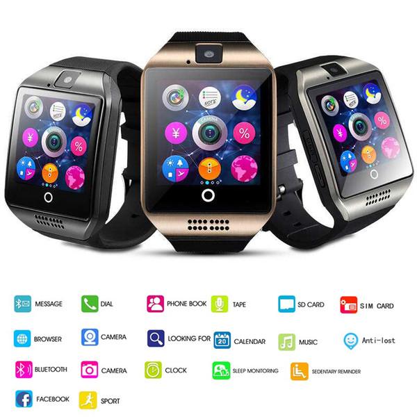 Q18 smart watch relógios bluetooth smartwatch relógio de Pulso com Câmera TF Slot Para Cartão SIM / Pedômetro / Anti-lost / para apple android telefones