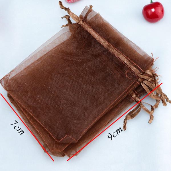 7x9cm Caffè gioielli pacchetto può stampare il marchio Extra Borse coulisse gioielli piccolo coulisse Sacchetti Organza Bags 200pcs / lot