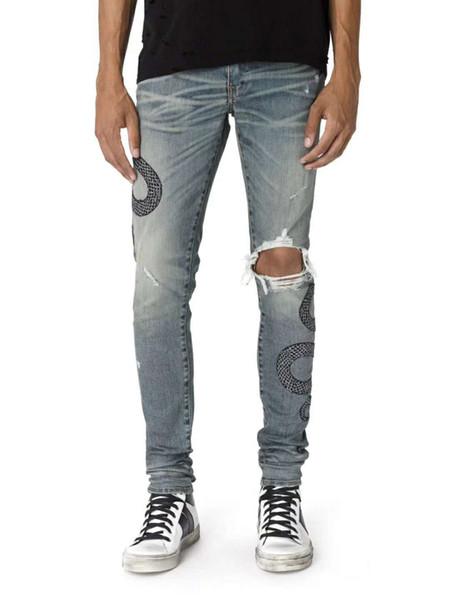Jeans firmati da uomo Jeans elasticizzati con serpente ricamati blu Jeans strappati Ginocchia Jeans aderenti di alta qualità Jeans aderenti di alta qualità Taglia 28-36
