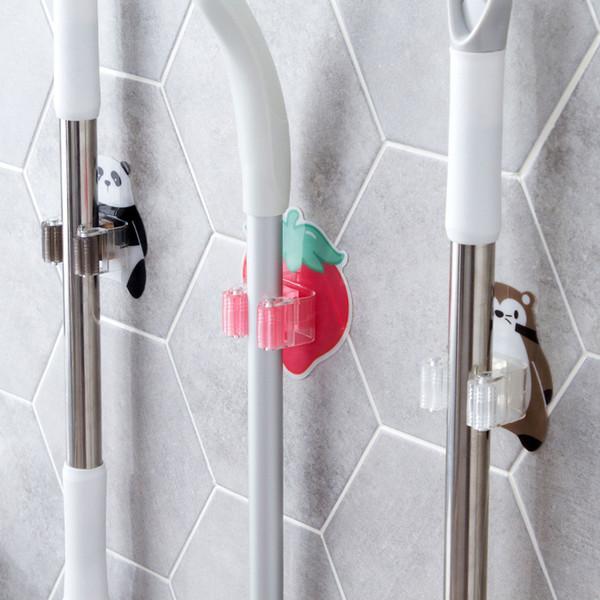 wholesale 1pc Mop Broom Holder Bathroom Tools Storage Rack Kitchen Organizer Wall Mounted Sticker Hook Umbrella Shelf