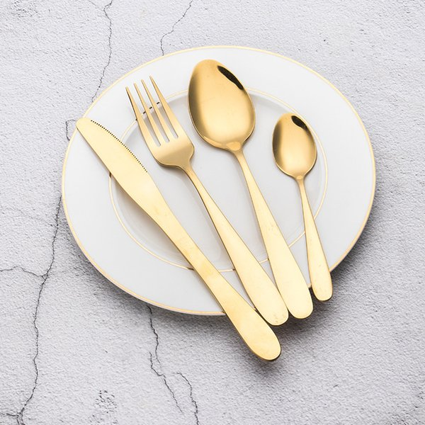 Talheres de ouro conjunto de talheres de aço inoxidável set 4 pcs 1set conjunto de talheres de ouro talheres de aço inoxidável colher faca garfo KKA6992