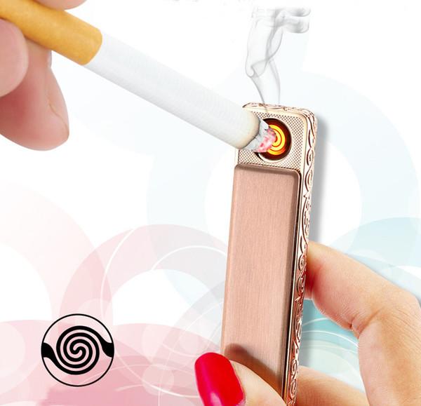 Slender USB charging lighter creative windproof electronic cigarette lighter