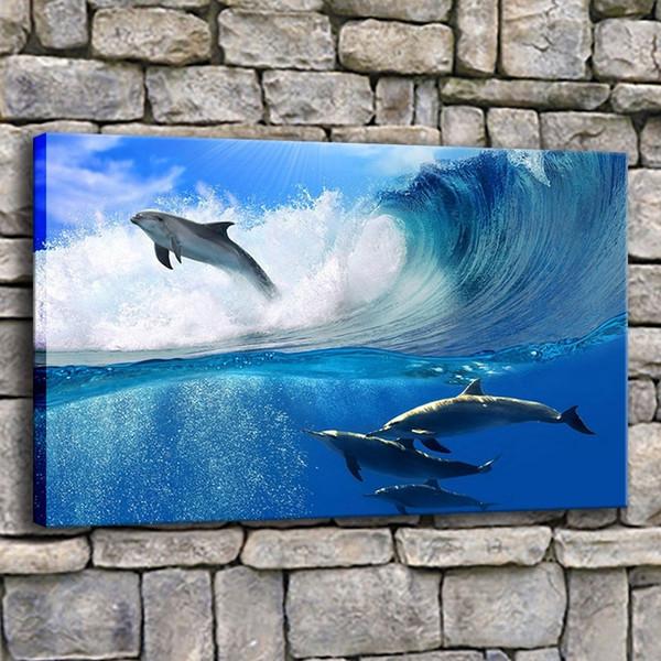 Wandkunst Leinwand Drucke Bilder Home Decor 1 Stück Schöne Viele Delphine Swims In Sea Wave Malerei Wohnzimmer Poster