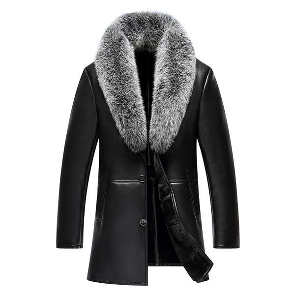 Faux Leather Jacket Men Clothes 2018 Autumn Winter Fox Fur Collar Short Coat Fake Leather Jackets Chaqueta Cuero Hombre ZL1040