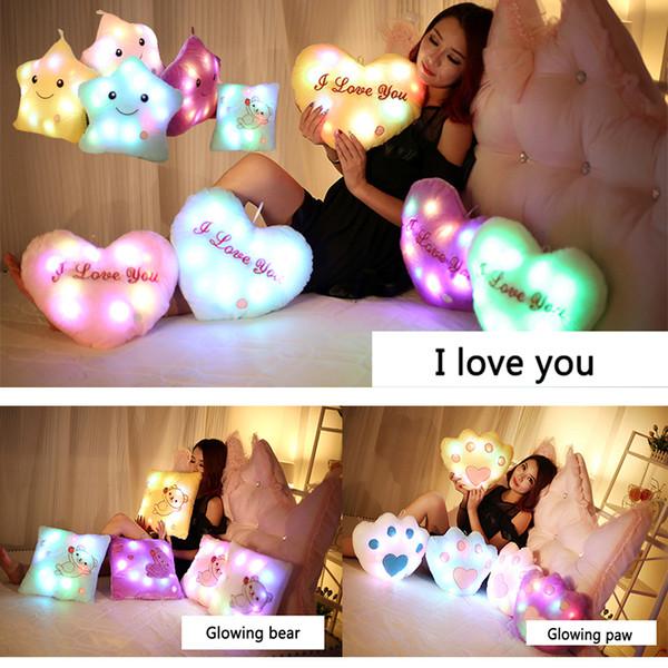 Creative Glowing Pillow Star Heart Bear Paw Luminous Led Soft Plush Pillow Night Light Cushion Toys Girl Xmas birthday Valentine's Day gifts