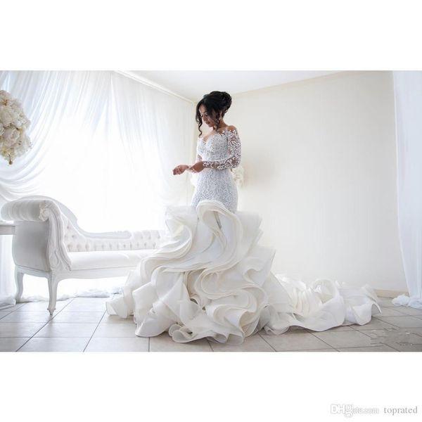 Plus Size 2017 Fashion Mermaid Wedding Dresses New Arrival Lace Long Sleeve Muslim Vestido De Noiva Romantic Appliques Ruffles Wedding Gowns