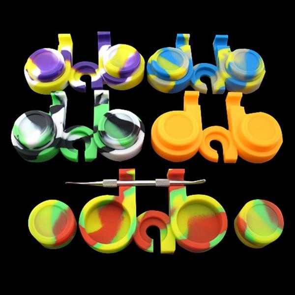 El más nuevo Portable 10ML Caja de silicona colorida Antiadherente 2 * 5ML Contenedores de cera circular Contenedores Tarros de herramientas Caja de almacenamiento Tarro Soporte de aceite para Vape