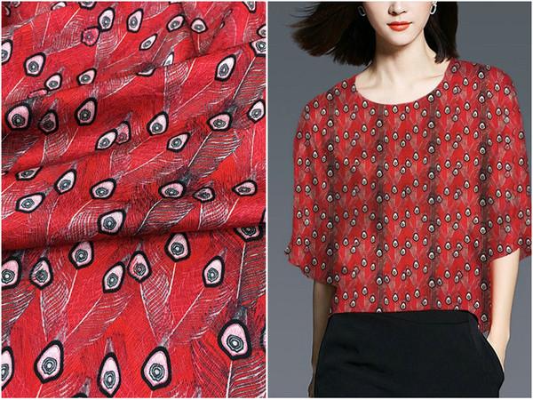22mm motif chevrons épais tissu de soie rouge en bas plumes de paon jet d'encre élastique robe de satin de soie tissu boutique
