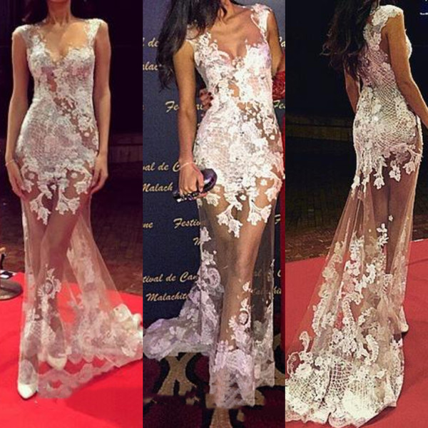 Sexy See Through Mermaid Evening Dresses Full Lace Appliqued New 2019 Arabic Style Sweep Train Oscar Inspired Sheer Celebrity Party Wear