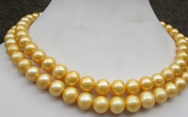 """necklace Free shipping ++++32""""Beautiful SOUTH SEA 10-11mm GOLDEN PEARL NECKLACE"""