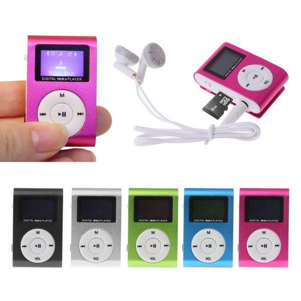 top popular Mini USB Metal Clip Music MP3 Player LCD Screen MP3 Player Support FM 32GB Micro SD Card Slot 2021