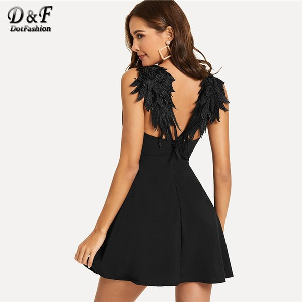 8916ecda8b Dotfashion Contrast Wing Back Cami Sexy Dresses Party Night Club 2018 Women Clothes  Summer Night Out