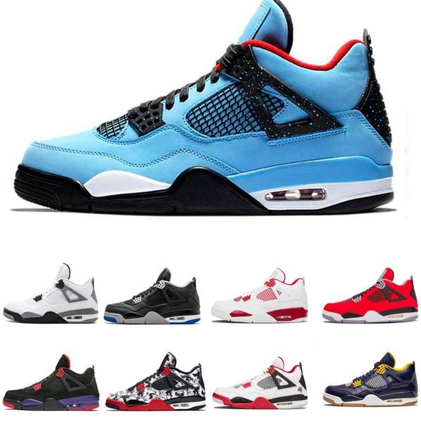 Top 4 4s Hombres Zapatos de baloncesto Nuevo Laser Blanco Negro Gato Trueno Militar Azul Zapatos Deportivos Zapatillas de deporte Tamaño 7-13