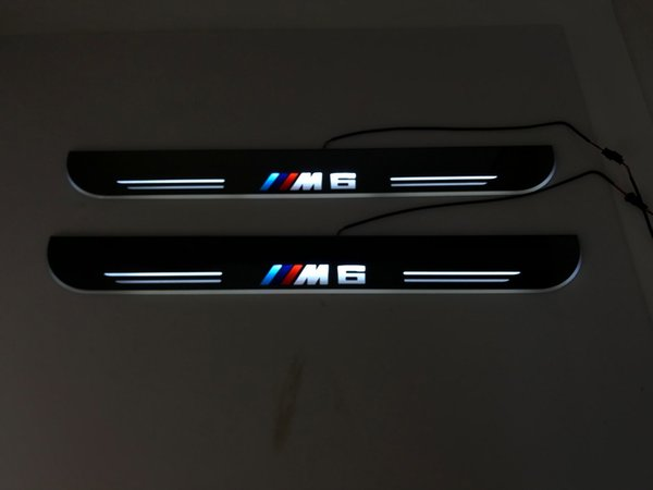 eOsuns LED moving door scuff Nerf Bars & Running Boards door sill light overlays linings flat strip for BMW M6 with M6 logo