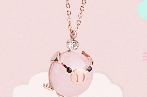 Titanium Steel Necklace Korea Purchasing Explosive Cute Pig Rich Fused ChainJewelry factory di Animal Pink Girl likes Fashion Charming Trend