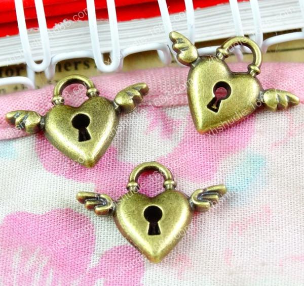 100pcs 13*17.5MM antique ornament heart lock angel wings charms for bracelet vintage metal pendants earring handmade DIY jewelry making