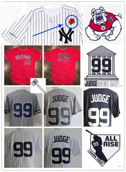 Mens NCAA Fresno State Bulldog Aaron Judge Baseball Jersey Genäht NY, damit wir # 99 Aaron Judge Courthouse Judgement Day Patch Jersey vergessen