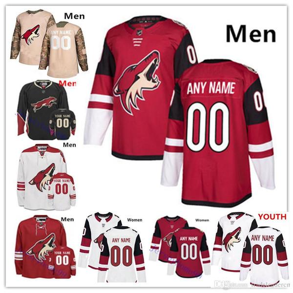 Personalizado Arizona Coyotes Homens Mulheres Juventude Camisa Clayton Keller Ekman-Larsson Derek Stepan Richardson Hjalmarsson Hinostroza Grabner Galchen