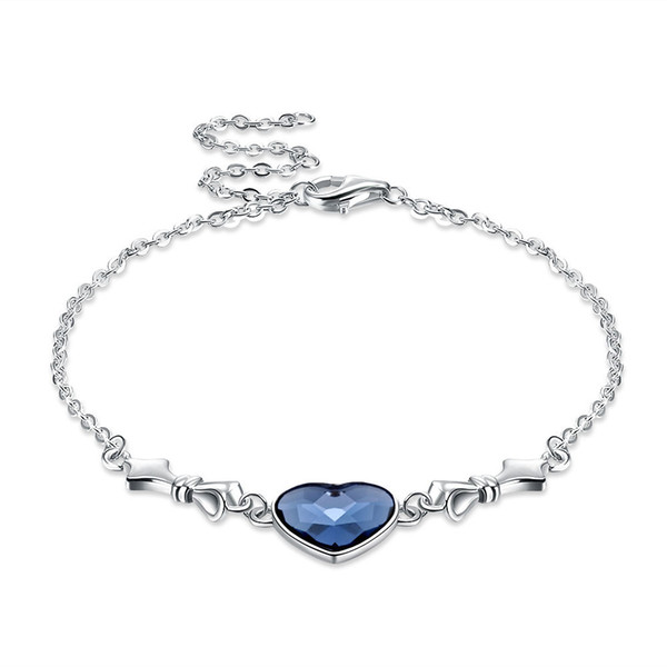 Stylish Charm Bracelets Fashionable S925 Sterling Silver Crystal From Swarovski Element Heart Shaped Bracelet Valentine's Day Gift POTALA233