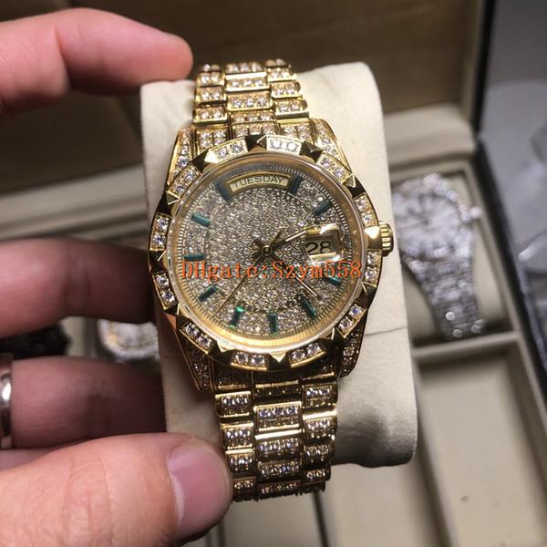 Reloj completo de diamantes de alta calidad 2836 automático impermeable 36 mm 316 inoxidable mecánico mecánico de segunda mano conjunto de movimientos de diamante helado hacia fuera reloj