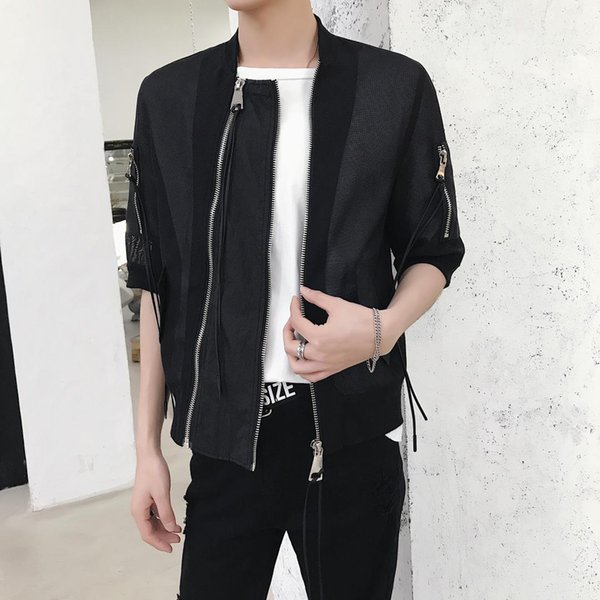 Boîte de nuit tendance mesh gaze crème solaire vêtements hommes tendance de la mode à sept points veste veste styliste à manches courtesshirt