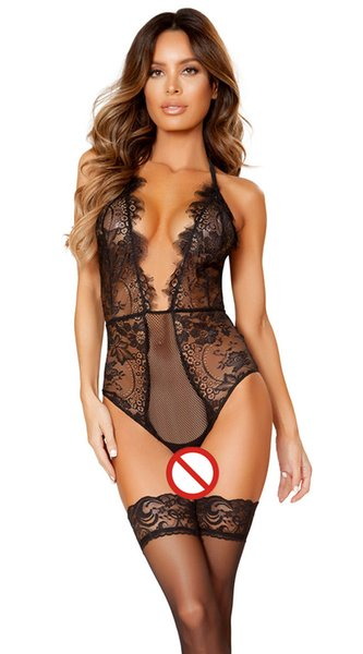 Sexy Halter lace bodysuit Women Skinny hollow out jumpsuit romper body feminino overalls mesh playsuit 044