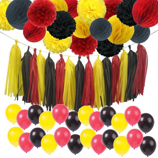 Fare Renk Doğum Günü Süslemeleri Parti Kaynağı Sarı Siyah Kırmızı Doku Kağıt Pom Poms Püskül Mickey Garland Banner Q190606