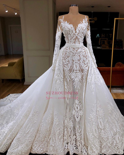 2019 Unique Luxury manga comprida vestido sereia casamento Trem Com destacável Dubai Bainha árabe Lace Appliqued Vestido de Noiva Custom Made