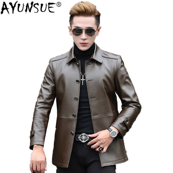 AYUNSUE Genuine Leather Jacket Men Autumn Winter Real Sheepskin Coat Vintage Men's Windbreaker Chaqueta Cuero Hombre KJ1616