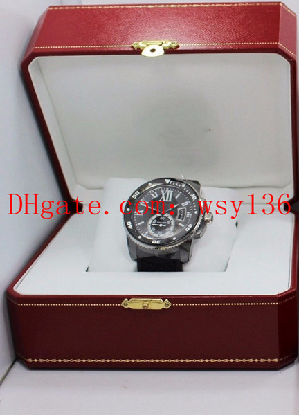 AA Calidad superior Calibre De WSCA0006 Negro DLC Maquinaria automática Reloj para hombre Banda de goma Buzo de lujo Relojes para hombres Caja original