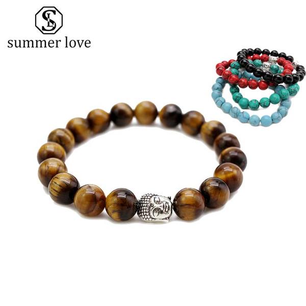 Handmade 10MM Tiger Eye Stone Buddha Head Charm Bracelet for Women Men Elastic Nature Stone Pray Beads Couple Bracelet Fashion Jewelry Gift