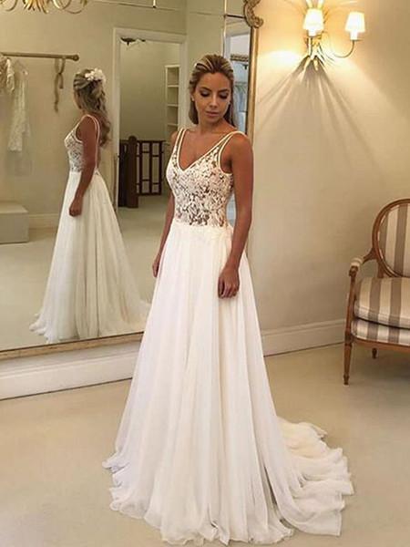 Robes de mariée de plage perles A-ligne appliques robes de dentelle en mousseline de soie, plus la taille des femmes robes de mariée pour les invités