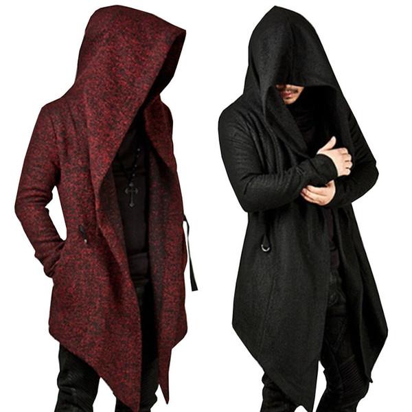 Atacado-Homens Moletons Com Capuz Novo Hip Hop Irregular Hem Cardigan Hoodies Jaqueta Streetwear Preto Masculino Casaco Outwear Assassino Creed Com Capuz