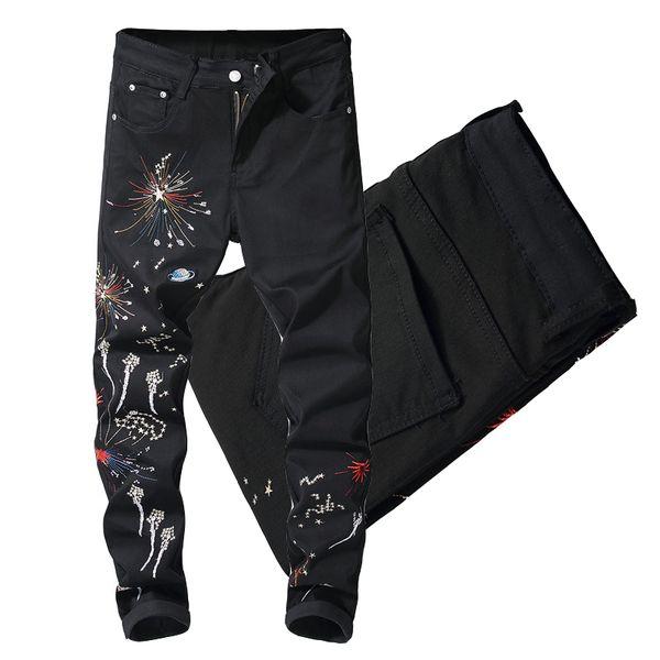 Black Casual Elastic Denim Jeans Night Wear For Man Trim Fitness Cut Leg Cowboy Pants Male