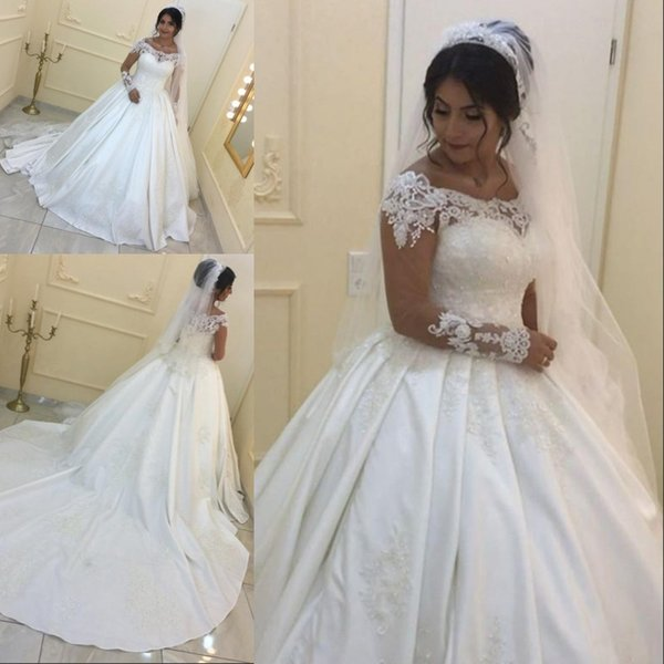 f784517e1f2 Vintage Lace Long Sleeve Ball Gown Arabic Satin Bateau Neck Court Train Plus  Size Wedding Dresses