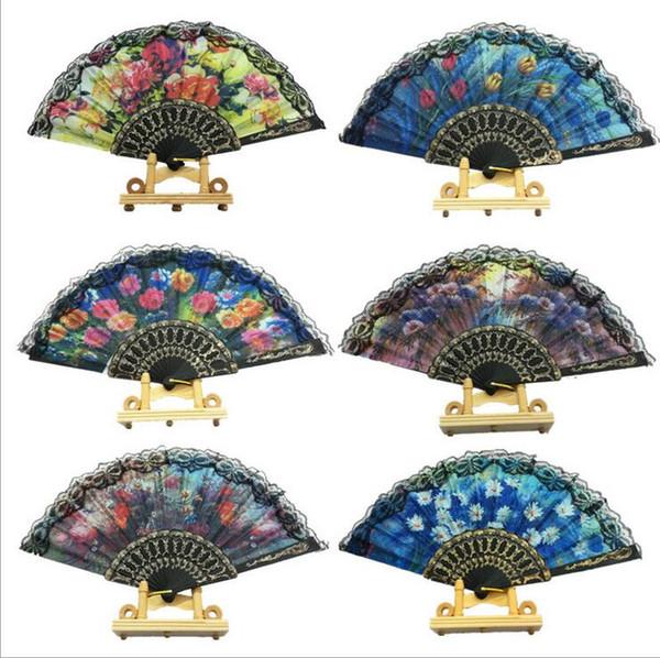 best selling Lace Wedding Fans Ladies Hand Fans Retro Bun Deco Fans Handmade Wedding Tourism Guest Gift TH12