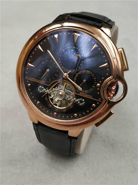 Hochwertige Marken Herrenuhr Top Luxus Leder Sportuhren 2 Zeitzonen mit 3 kleinen Zifferblättern arbeiten Automatische Maschinen Mann Armbanduhren