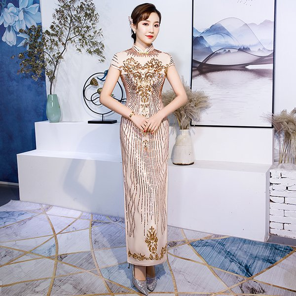 Champagne Long Evening Party Gown Lady Qipao Sequins Flower Mandarin Collar Chinese Dress Large Size 3XL Retro Vestidos De Festa