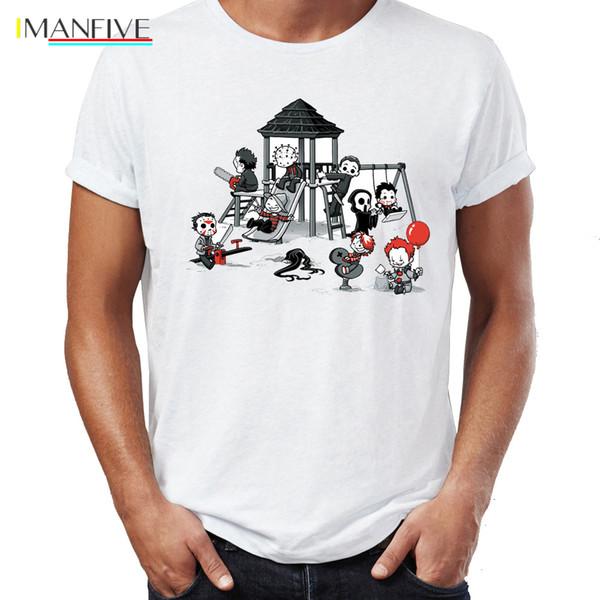 Erkekler T Shirt Parkı Theme Park Jason Palyaço Cadılar Bayramı Komik iddialı Tee Testere