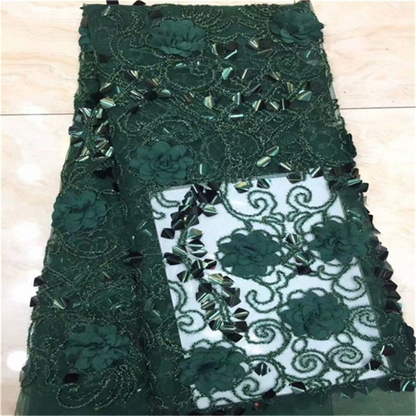 Embroidery 3d sequins African french net lace fabric high quality tulle lace trim bridal guipure Swiss Nigerian laces fabric