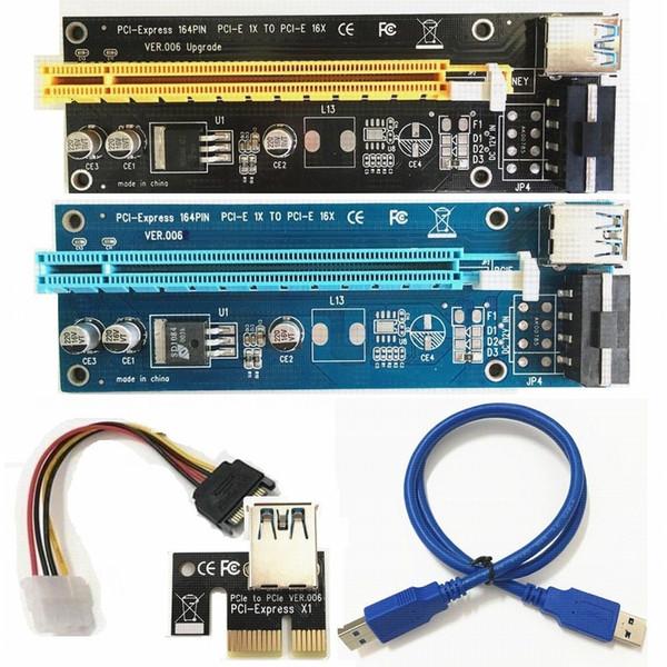 PCIE PCI-E PCI E Express Riser Карта 1x - 16x USB 3.0 кабель для передачи данных SATA - 4-контактный IDE Блок питания Molex Bitcoin BTC Miner Machine