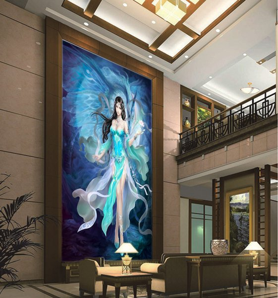 Personalizado Qualquer Tamanho Papel De Parede 3D Jogo Anime Dos Desenhos Animados Mulher Fada Interior Porch Fundo Decoração Da Parede Mural Papel De Parede