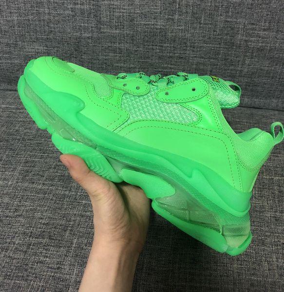 Homens Mulheres Sapatos Casuais Paris 2019 Cristal Inferior Triple-S Sapatos De Lazer De Luxo Pai Sapatos de Plataforma Triplo S Sneakers Neon Verde