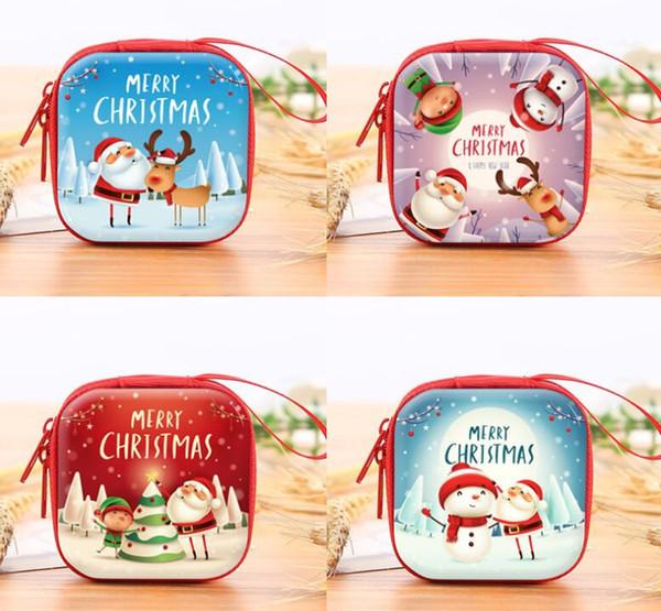 Porte-monnaie Noël Mini portefeuille cadeau Portable Sac bonbons Pochette de Noël Faveur Zipper Étui de transport pour les clés de trésorerie Casque __gVirt_NP_NN_NNPS<__ carré rond coloré