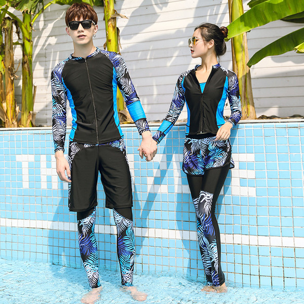 top popular New Print Wetsuit for Women Couple Diving Suit for Men High Elastic Swimming Suit UV Proof Surfing Full Body Swimsuit Quick Dry 2021
